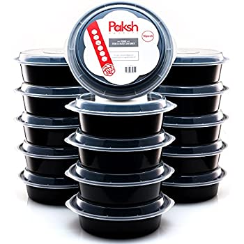 Paksh Novelty Round Plastic Meal Preparation Container/Food Saver with Clear Lid, Microwave & Dishwasher Safe, 24 oz, 16 Piece