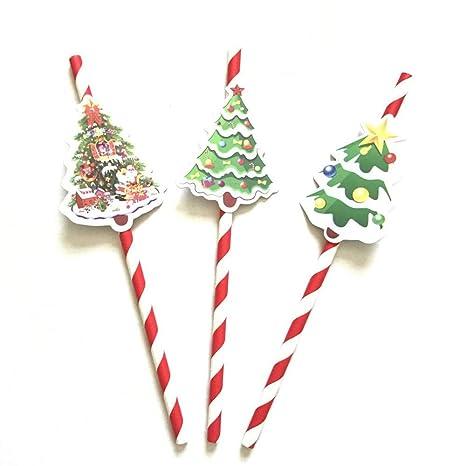 Albero Di Natale Con Cannucce Di Carta.Sunreek 12 Confezione Da 36 Pezzi Cannucce Con Alberi Di Natale