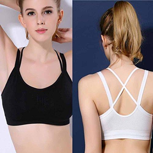 Amlaiworld Niedlich Yoga Sport Bra Damen Komfortabel Elegant Fitness BH Atmungsaktiv eng Dessous Weiß