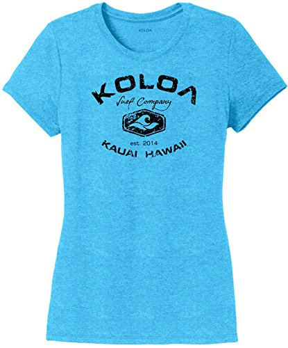 Koloa Surf Vintage Arch Ladies Tri-Blend Heather Crewneck T-Shirt-Turquoise/b-L