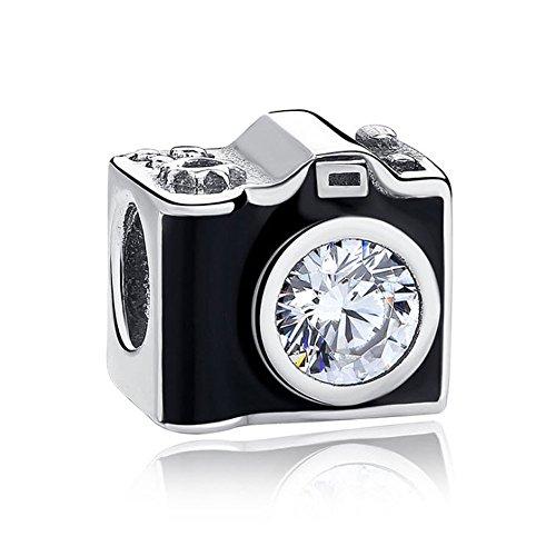 Romántico Amor Sentimental Snapshots Photography Black Camera Charm Silver fit Pandora Bracelets (Pandora Black Charm Bracelet)