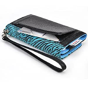 Black Base - Teal Zebra Wristlet Wallet Universal Smartphone Cover for Motorola Droid Maxx