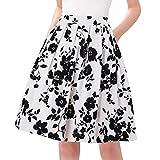 Taydey Women Flare Midi Skirt 50s Vintage Styles Size S White Rose