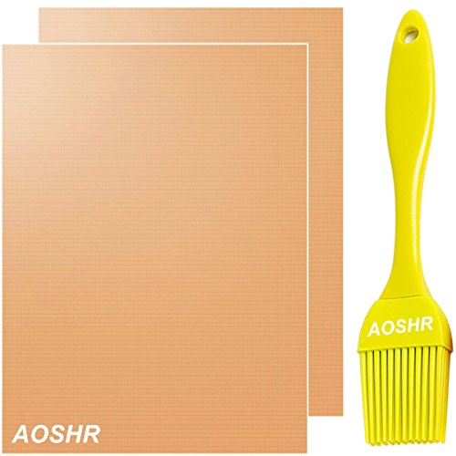 AOSHR Copper Grill Mat Set of 2 - 100% Non-stick, FDA Approved, PFOA Free, Reusable and Easy to Clean, BBQ Grill & Baking Mats As Seen On TV - 1575 x 13 Inch