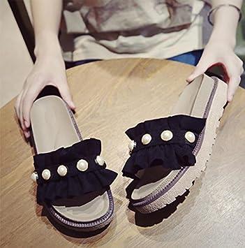 KHSKX-Cool Negro Zapatillas Verano Niñas Bizcocho Espesa Remolcado La Versión Coreana De La Moda Vistiendo El Pearl Beach Zapatillas Fondo Plano 36: ...
