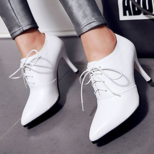 DecoStain Women's Lace Up Stiletto High Heel Ankle Boots Ladies Pointed Toe Booties Shoes Whhite uWZFkQv