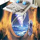Mznm Custom Large Fresco Space Tunnel Tunnel Cosmic Planet 3D Floor Thickening Waterprooff PVC Wear Film-200X140Cm