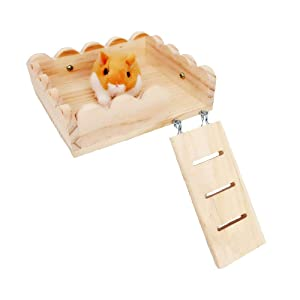 Tfwadmx Hamster Wooden Platform, Small Animal Climbing Ladder Ramp Chew Toy for Guinea Pig Ferret Chinchilla Squirrel Rat Gerbil