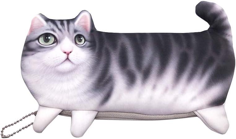 STOBOK Lindo estuche de lápices de gatos Kawaii Cat Pattern Bolsa de lápices Bolsa de monedas Bolsa de maquillaje con cierre de cremallera para niña niño (Gato gris): Amazon.es: Hogar