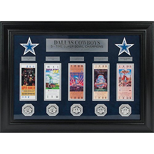 NFL Dallas Cowboys Super Bowl Ticket and Game Coin Collection Framed by The Highland Mint