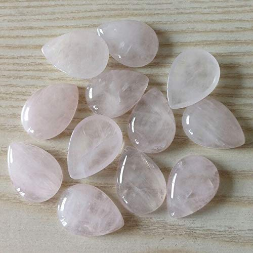 Calvas Wholesale Fashion 25x18mm Assorted Natural Stone Beads Teardrop CAB CABOCHON for Jewelry Accessories 12pcs/lot - (Color: Rose ()