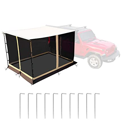 leaveshade Car Awning Room ● Deluxe Mesh Screen SUV Room for Heavy Duty Car Rooftop Side Tent ● 2500x2500 mm 83x83 ● Innovated Premium Material ● Waterproof Oxford Fabric UV Block