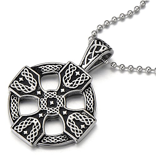 (COOLSTEELANDBEYOND Stainless Steel Mens Women Celtic Cross Pendant Necklace Silver Black Two-Tone with 23.6 in Ball Chain)