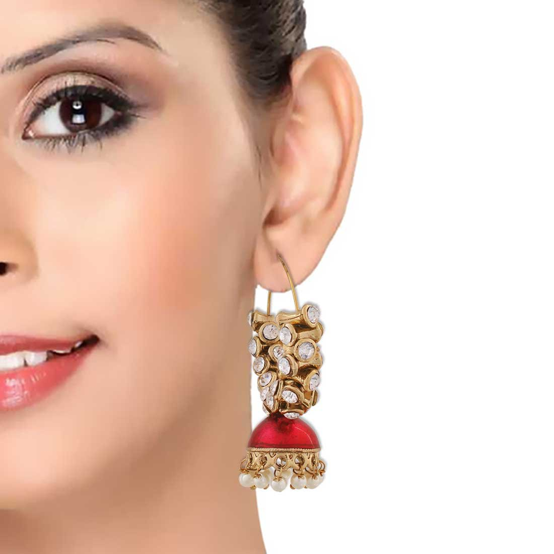 Maayra Meenakari Pearl Earrings Red White Hoops Festive Traditional Earrings