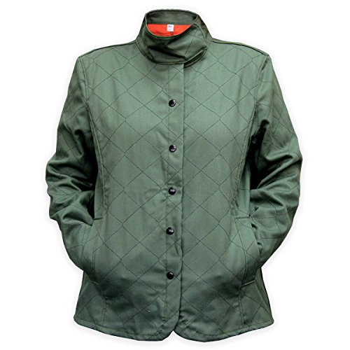 Chicago Protective Apparel 625-WQW-3XL Women's Fr Olive Quilted Welding Jacket, 3XL, Olive Green / Orange