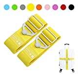 Elastic Luggage Straps, Galopar Suitcase Belt Adjustable Elastic Luggage Strap Travel Accessories Holiday Essentials-2 Pack (Yellow)