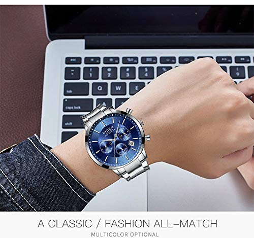 Watch,Mens Watches,Sport Casual Fashion Business Wrist Watch,Stainless Steel Waterproof Silver Blue Multifunctional Chronograph by ASWANWATCH (Image #1)