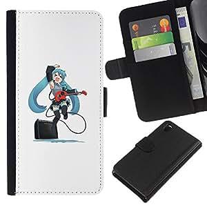 KLONGSHOP // Tirón de la caja Cartera de cuero con ranuras para tarjetas - Lindo Anime japonés Muchacha de la guitarra - Sony Xperia Z3 D6603 //