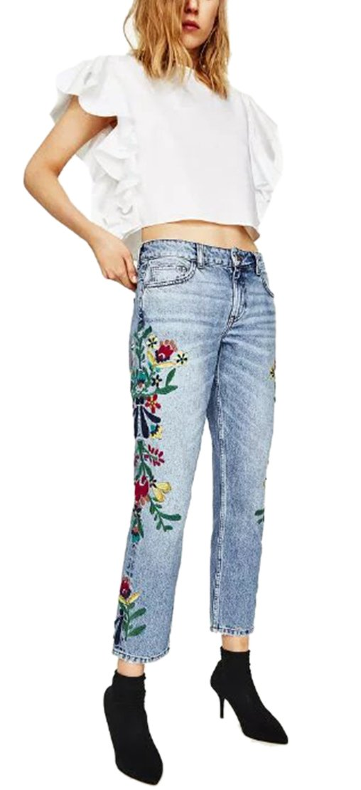 Women's Embroidered Floral High Rise Relaxed Stretch Skinny Jeans Pants Blue