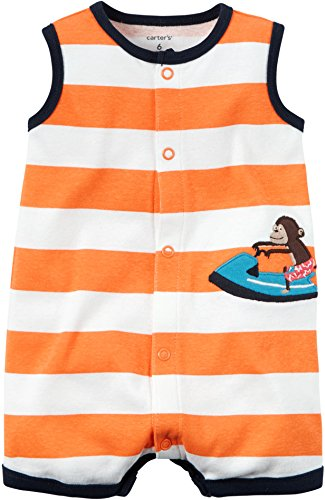 Carter's Baby Boys' Snap-Up Cotton Romper (9M, Orange/Monkey) Baby Boys Snap Front