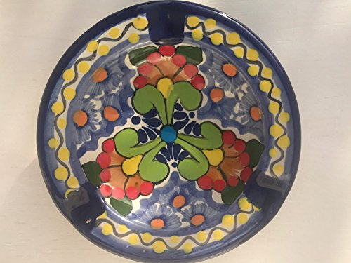 Talavera Ceramic Ashtray 4 1/2'' Modern Art Design Authentic Puebla Mexico Pottery Hand Painted Design Vivid Colorful Art Decor Signed [Lime Leaves]