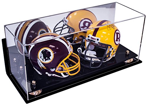 Deluxe Acrylic Double Mini Football Helmet Mini Goalie Mask Display Case with Gold Risers Mirror and Wall Mount (A019-GR) - Mini Helmet Wall Mount