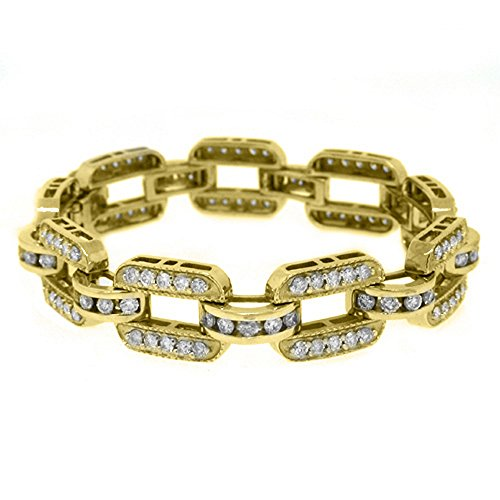 14k Yellow Gold 7 10 Carat Round Diamond Tennis Bracelet