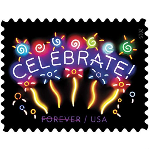 Neon Celebrate! Sheet of 20 US Forever First Class Postage Stamps (20 Stamps) (Current Price Of A First Class Stamp 2015)
