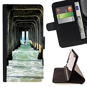 - Surfing Windsurfing Waves Sea Sunshine Beach - - Style PU Leather Case Wallet Flip Stand Flap Closure Cover FOR Samsung Galaxy S5 Mini, SM-G800 - Devil Case -