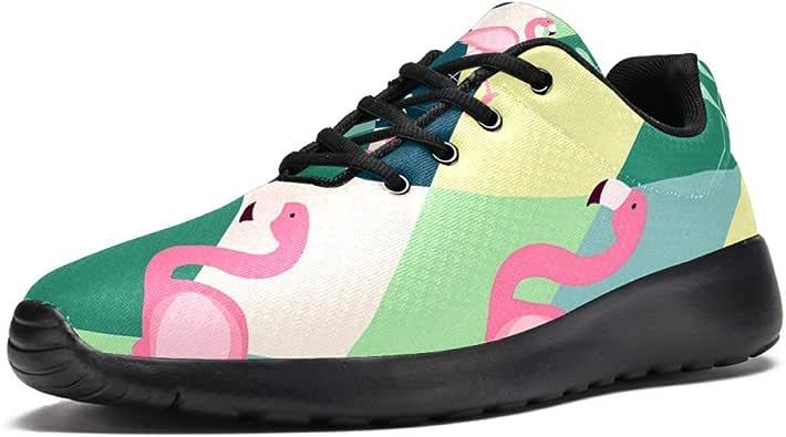 TIZORAX Zapatillas de running para hombre Flamingo Tropical Leave Moda Zapatillas de malla transpirable caminata senderismo tenis zapatos de tenis de 4.5 tamaño: Amazon.es: Zapatos y complementos