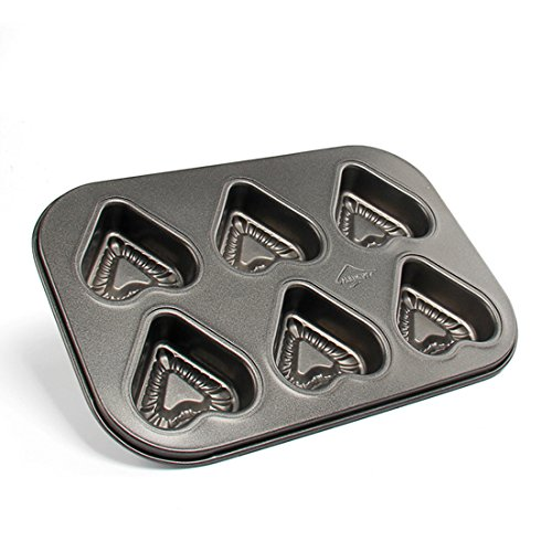 Beneking Muffin Pan 6 Cup Nonstick Carbon Steel Cupcake Pan Heart Shape (2-Pack) - Heart Shaped Pan Cupcake