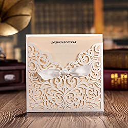 Wishmade 20pcs Laser Cut Invitation Cards Kit White for Wedding, Anniversary, Bridal Shower, Party with Ribbon