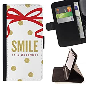 Momo Phone Case / Flip Funda de Cuero Case Cover - Diciembre Navidad oro blanco - HTC Desire 626