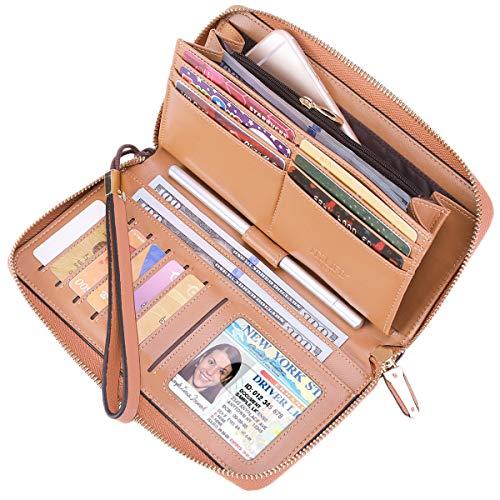 Itslife Women RFID Blocking Wallet Leather Zip Around Phone Clutch Large Travel Purse Wristlet