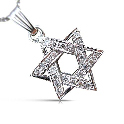 Milano Jewelers .24CT DIAMOND 14K WHITE GOLD 3D CLASSIC PAVE STAR OF DAVID PENDANT (0.24 Ct Pave Diamond)