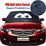 (for VW Golf Jetta Passat )Magnetic Windshield Cover Ice & Snow - Cartoon Eyes Design - Frost Freeze Protector Sun-UV Waterproof - Fulfilled by Amazon -