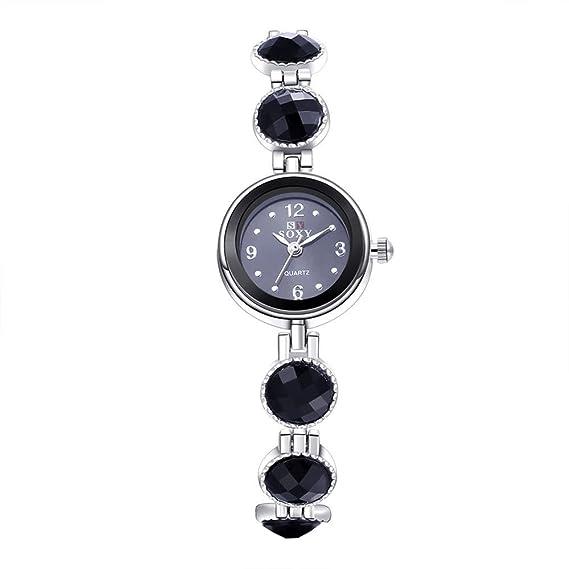 En línea reloj tienda pequeño negro número Cercle negro banda de acero mujeres relojes: Amazon.es: Relojes