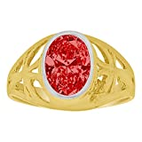 14k Yellow Gold, Small Size Child Ring Adult Pinky Ring Created Cubic Zirconia Crystal Cross Design Red