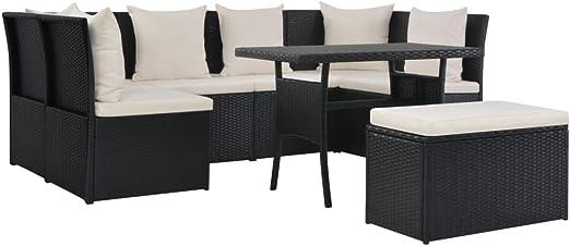 Tidyard Conjunto Muebles de Jardín de Ratán 8 Piezas con Mesa y Cojines,Sofa Exterior para Jardín Terraza Patio,Ratán PE Negro: Amazon.es: Hogar
