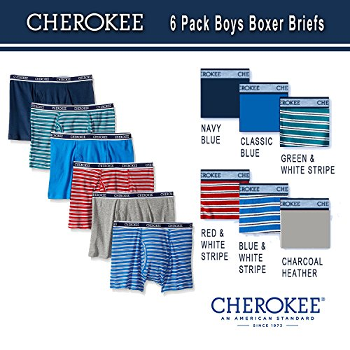 Cherokee Boys' 6 Pack Boxer Brief, Stripe/Solid Print Pack, (Stripe Print Briefs)