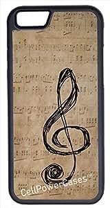 iPhone 6 Case, CellPowerCasesTM G-Clef Vintage Paper -\xa0iPhone 6 Plus (5.5) Black Case [iPhone 6 (5.5) V1 Black]