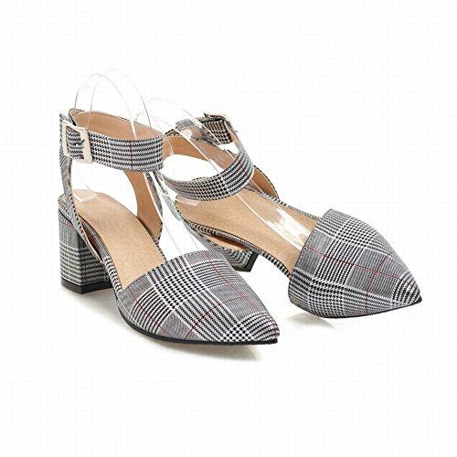 Carolbar Women's Fashion Plaid Pointed Toe High Heel Buckle Sandals Silver cDNc5
