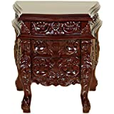 Solid Mahogany / Chocolate Carved 3-Drawer Rococo Nightstand Side Table BE042-TB-G-127