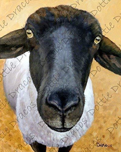 SHEEP wine picture FARM ANIMALpainting art print 11x14