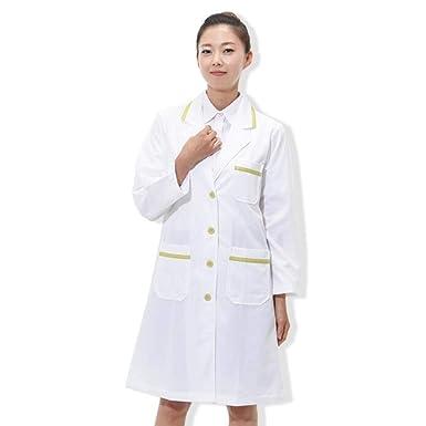 ESENHUANG Doctor Ropa Abrigo Blanco Manga Larga Ropa De Trabajo Uniformes Médicos Bata De Laboratorio Jaleco Farmacia: Amazon.es: Ropa y accesorios