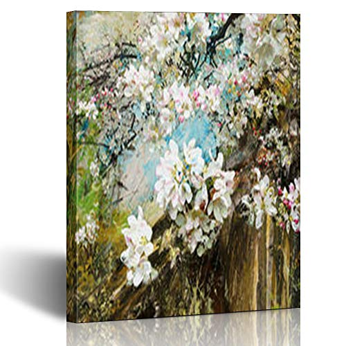 Armko Canvas Wall Art Prints Watercolor Apple Blossoms Garden Mixed Branch in Media Abstract Oil Hobby 12 x 12 Inches Wooden Framed Painting Home Decor Bedroom Office