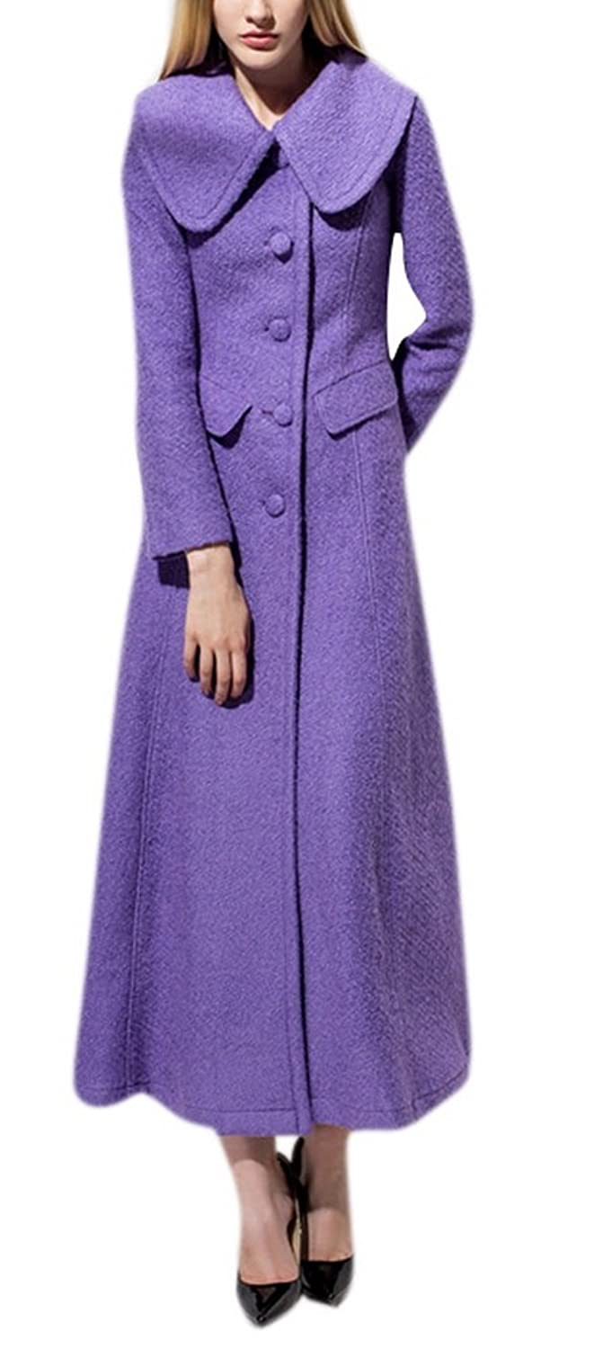 Allbebe Womens Fall Winter Lapels Wool Long Button Closure Worsted Coat Overcoat