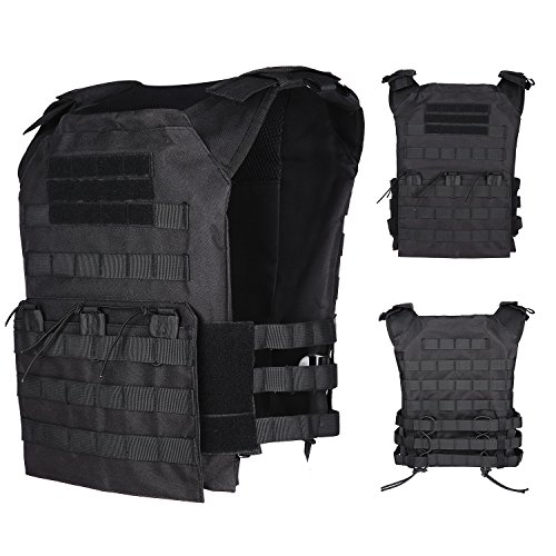 Review UNIQUEBELLA Tactical Military Vest Molle Combat Airsoft camouflage Adjustable Lightweight Vest for Adults 600D Encryption Polyester Black