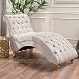 Bellanca Fabric Tufted Chaise Lounge Chair (Medium Beige)