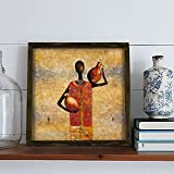 LaModaHome Home Decor 100% PINE WOOD Framed Wall Art (13.3'' x 13.3'') Drawing Colourful Africa Clan Woman Pitcher Black Ready to Hang 1.4'' Thickness Great Gift for House